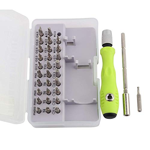 Storin Mini Screwdriver Bits Set with Magnetic Flexible Extension Rod for Home Appliance,Laptop,Mobile,Computer Repairing Preparations , Multicolor , 32 Pieces