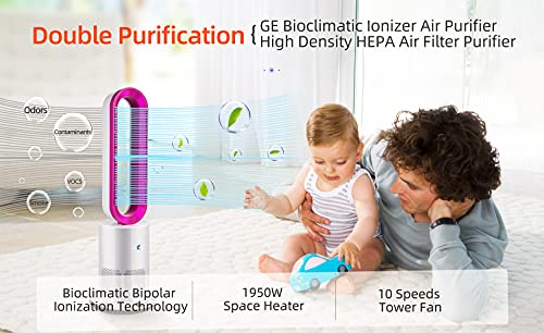 Ionizer Purifier Fan, HEPA Air Filter,1950W Heater Fan, 10 Speeds & 9 Hours Timer,120 ° Osillating ,33.5 inch Bladeless Fan,with Remote Control, Air Circulator Fan for Room (White andPink)…