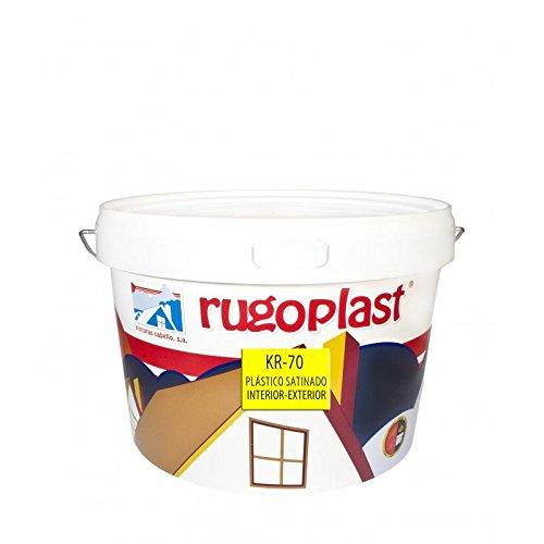 Pintura plástica blanca satinada interior/exterior muy lavable ideal para decorar tu casa con un poco de brillo (salon, baño, dormitorios, cocina.) KR-70 Blanco (6 L) Envío GRATIS 24 h.