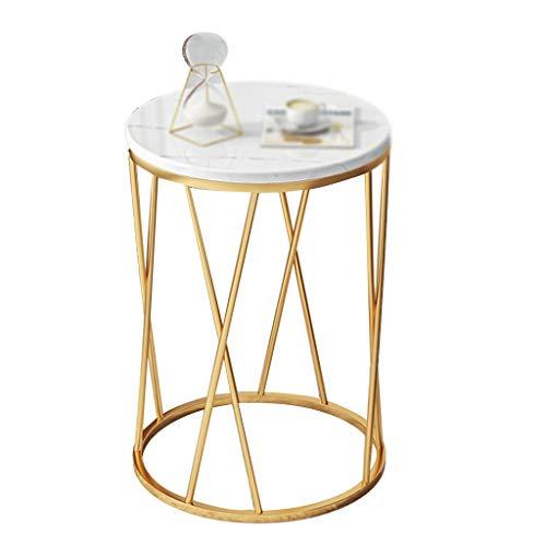 Mesa auxiliar de interior, de hierro forjado de mármol, mesa redonda de café, restaurante, sofá, mesa de salón, por The Sofá, madera, A, 40*40*57CM