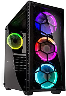 Kolink Observatory RGB Midi-Tower Caja de la computadora - Cuerpo de Acero - Vidrio Templado - Parte Frontal de plástico - Ventana - LED - Negro