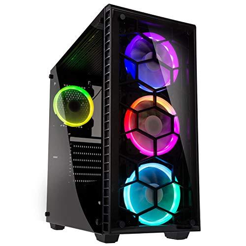 KOLINK Observatory RGB Midi-Tower Computergehäuse, PC Hülle, ATX Gehäuse, Tempered Glass Gaming PC Case, Dezentes Design Computer Gehäuse, Schwarz