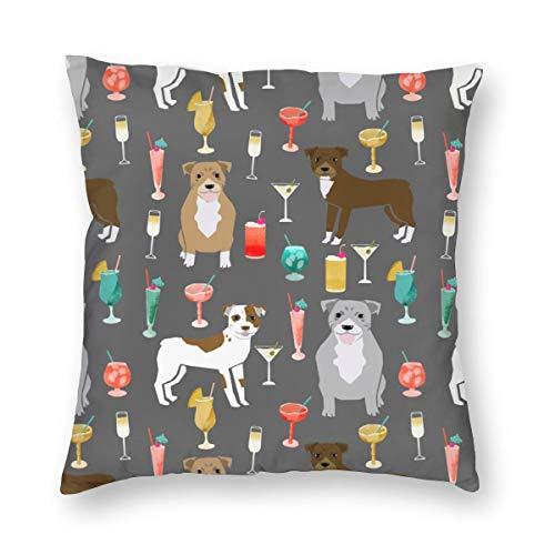 surce Kussenslopen Pitbulls Cocktails Leuke Pitbull Honden En Gemengde Dranken - Grijs voor Slaapbank Slaapkamer WoonkamerTwee Zijden afdrukken 18x18 inch