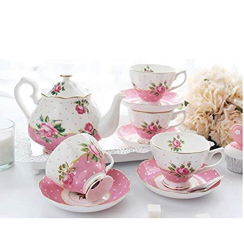 Cina floreale insieme di tè, tazze da tè (8 once) Teiera (38 once) porcellana Tea Set for Tea Party Donne (Color : Pink)
