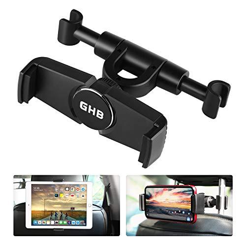 Soporte Tablet Coche, GHB Soporte Reposacabezas Coche para iPad Air Mini Pro 2019 - Compatible con Smartphones y tabletas de 4,7