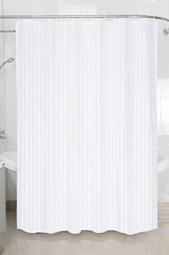 MB Warenhandel24 Duschvorhang Duschvorhänge Badewannenvorhang ca. 180x200 cm inkl. 12 Ringe Deutscher Händler (Hotel Qualität Jacquard Streifen Weiss)