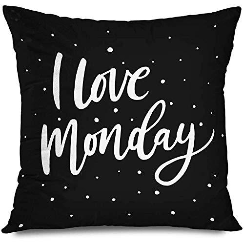 Funda de almohada de tiro 45X45Cm Black Love Monday Cita motivacional Empleados de oficina Resumen Pincel Día Diversión Motivación Decoración hecha a mano Funda de almohada Decoración para el hogar Funda de cojín