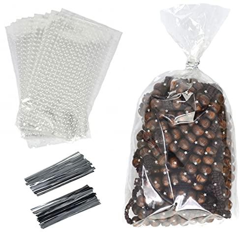 150 piezas 10 x 20 cm Bolsas de celofán transparente Patrón de estrella Con lazos bolsas de celofán para envolver bolsas de regalo de plástico Caramelo, Chocolate, Galletas