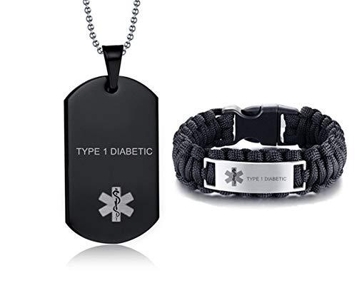 NineJewelry Acero Inoxidable Negro Tipo 1 DIABÉTICO Conjuntos de Joyas de Alerta médica Etiqueta de identificación de Emergencia Caduceo Conjuntos de Collar de Pulsera, Joyería médica para Hombres