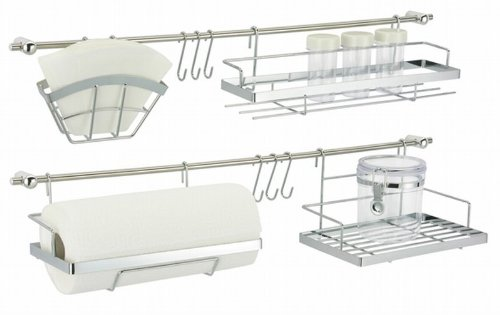 Oramics 16-teiliges KüchenorganizerSet - Der perfekte Ordnungshelfer aus Metall - praktischer Küchenutensilienhalter in Silber