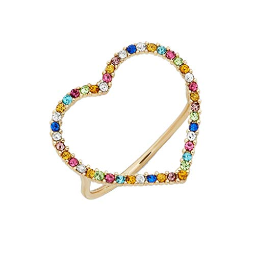 holilest Ring, Rainbow Heart Crystals Band Ring Stackable Eternity Band Cubic Zirconia Ring-Color -8