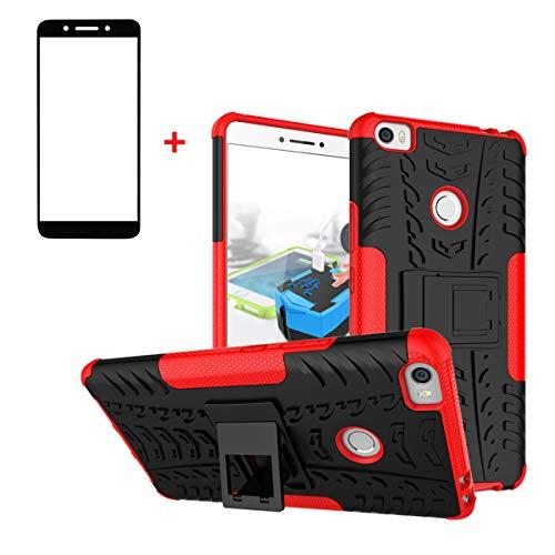 XINYUNEW Funda Xiaomi Mi MAX 2, 360 Grados Protective+Pantalla de Vidrio Templado Caso Carcasa Case Cover Skin móviles telefonía Carcasas Fundas para Xiaomi Mi MAX 2-Rojo