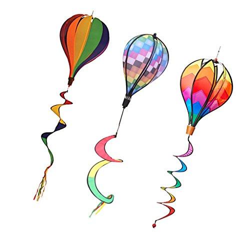 MagiDeal 3 Stück Windspiel Ballon Windrad Heißluftballon Twist Rainbow mit lockigen Schwanz - Mehrfarbig