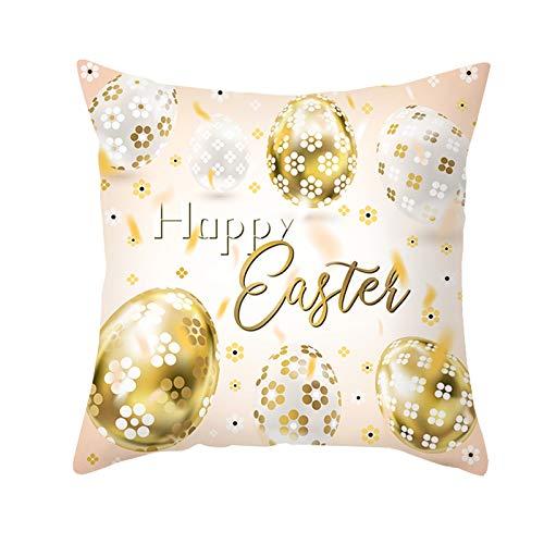 AMDXD Funda Cojines Poliéster, Fundas Decorativas para Cojines Huevos con Flores Printed Happy Easter Decorativo para Sofá Cama Hogar Coche,Interior, Exterior , Oro Blanco, 50x50cm