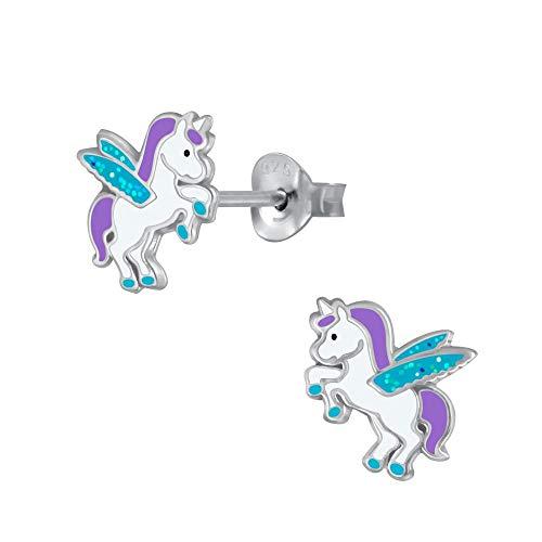 Laimons - Pendientes infantiles para niña, pendientes de unicornio, unicornio, pegaso, 8 mm, turquesa, lila y blanco con purpurina, plata de ley 925