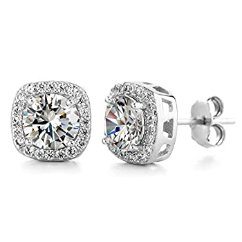 Devin Rose Square Halo Stud Earrings for Women made With Swarovski Crystals in Rhodium Plated Brass   White