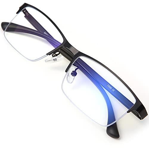 LAMIO ブルーライトカット メガネ PCメガネ パソコン用メガネ ブルーライト UVカット 紫外線カット スクエア 男女兼用 度なし (ハーフリム)