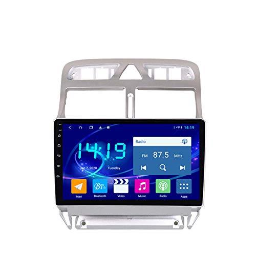 BBGG Android 9 navegación GPS para automóvil navegación GPS estéreo, teléfono Manos Libres Bluetooth Que invierte Video/WiFi/Am/FM/Video, Compatible con navegador GPS Peugeot 307 4G + 64G (2002-2013)