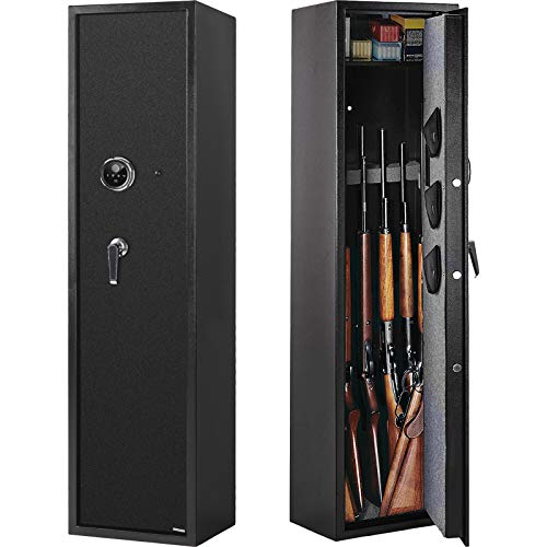 Winzone Rifle Safe, Biometric Gun Safes & Cabinets for 5 Rifle Shotgun for Home, Quick Access Gun Safes for Rifles and Shotguns with Separate Lock Box,3 Handgun Pocket and Silent Mode
