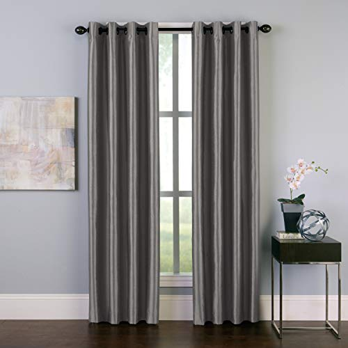 "Curtainworks Malta Faux Silk Grommet Curtain Panel, 50 by 144"", Pewter"