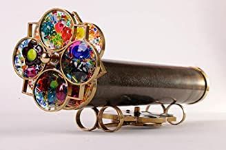 Kaleidoscope Giant Flower Extra Wheel Dark Brass Hand Made Collectible Traditional Miniature Toy Optical Art Illusion Gift Idea KGEF