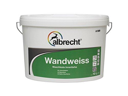 Albrecht Wandweiss A500 weiß , stumpfmatt / 10 L / Waschfeste Wandfarbe und Deckenfarbe / Einsetzbar auf Putzen, Gipsputzen, Mörtel, Beton-/ Faserzementplatten, Raufaser, Tapeten u.v.m