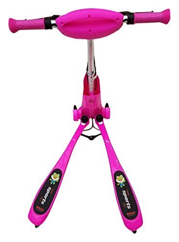 FEICHI SPORT Kid Frog Scissor Motion Kick Scooter with Dual Hand-Break PU Rainbow Lighting Wheel, Pink