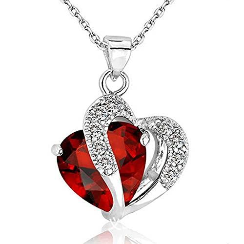 WEFH Collar con Colgante de Cadena de Diamantes de imitación para Mujer, Cadena de clavícula de circonita en Forma de corazón, Rojo