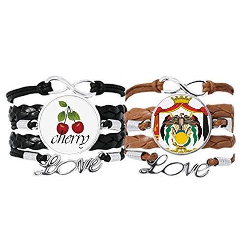 Bestchong Jordan National Emblema Country pulsera correa de mano cuerda de cuero cereza amor pulsera doble juego