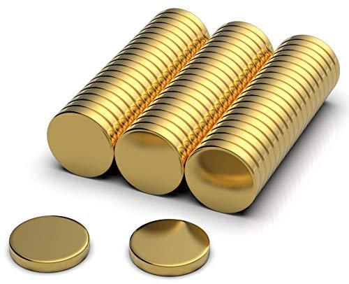NeoMagNova 50 Stück Neodym Magnet 10x2mm Gold, Starke Magnete für Magnettafel, Whiteboard, Kühlschrank, Basteln, Neodym Magnete klein und extrem stark N42
