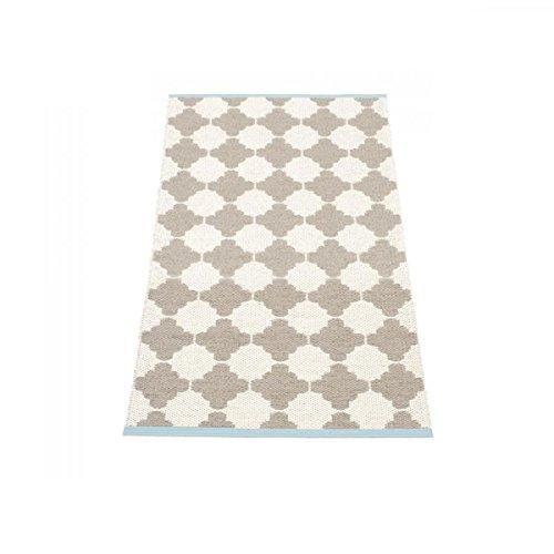 Unbekannt Marre Teppich 70x90cm, Schlamm vanille Turquoise Stripe wendbar