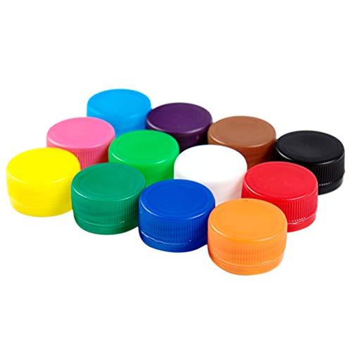 Healifty 100 tapas de plástico para botellas coloridas para niños de jardín de infancia, manualidades, álbumes de recortes