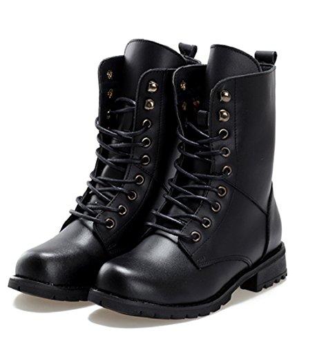 [ジルア] レースアップ ショート ブーツ ローヒール 軽量 防水 靴 紐 ブラック レディース 成人式 卒業 袴 卒業式 ブーツ [24.5-25.0cm](40)#062