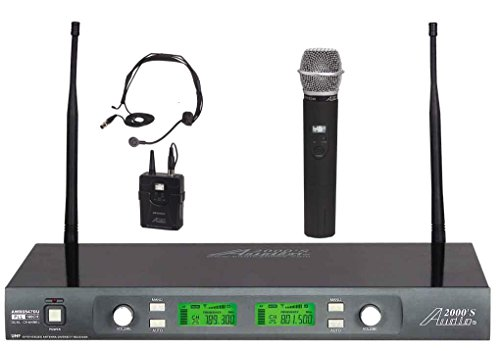 audio 2000s wireless headsets Audio2000'S AWM6547DUX Wireless Microphone System with Headset/Handheld Combination
