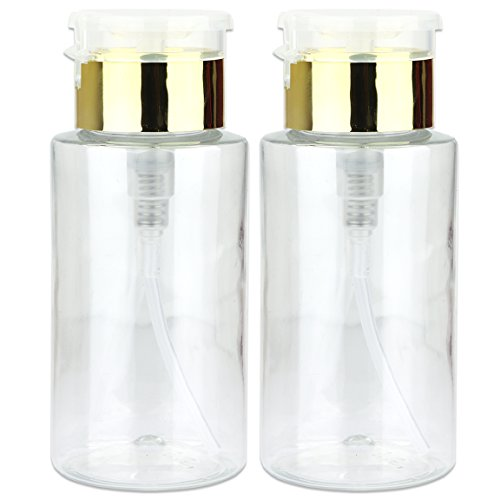 PANA Brand 7oz. (Quantity: 2 Pieces) Professional Push Down Liquid Pumping Empty Bottle Dispenser (Gold Lid Clear Bottle, NO WORDING!!)