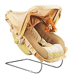 Goyal's 12 in 1 Musical Carry Plastic Cot/Bouncer with Mosquito Net and Storage Box (Brown,gt236coat),Goyal's