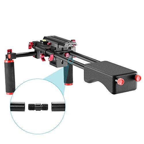 Neewer tragbare Kamera Video Filmmachen System mit Kamera/Camcorder Montage Schieber, weiche Gummischulterpolstern und Doppel Handgriff für DSLR Videokamera DV Camcorder(rot)