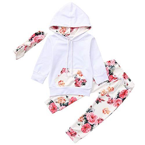 Baby Mädchen Kapuzenpullover Blumendruck Hosen Haarband Outfits Set Langarm Hoodie Sweatshirt Kapuzenoberteile Trousers Kleinkind Kinder Kleidung Set, Weiß, 6-12 Monate