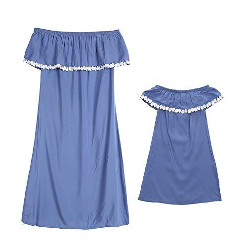 CYICis Mutter und Tochter Kleidung Sommerkleider Strandkleider Blauer Schulterfre Shirtkleider Partnerlook Mama Kind Kleid (Kind 6-12 M, Blau)