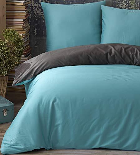 Leonado Vicenti - 100% Baumwolle Edel Satin Uni Einfarbige Wende Bettwäsche Set Kissen Bezug Schlafzimmer mit Reißverschluss, Farbe:Petrol - Anthrazit, Größe:135x200 + 80x80