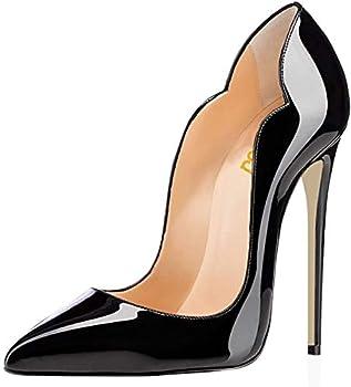 FSJ Women Classic Pointed Toe High Heels Sexy Stiletto Pumps Office Lady Dress Shoes Size 12 Black
