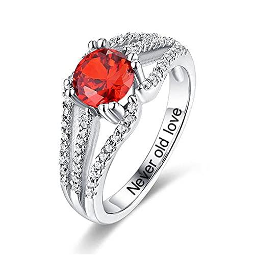Anillo de piedra natal redondo personalizado, anillo de compromiso, anillo de plata para mujer, aniversario de boda(Plata 22)