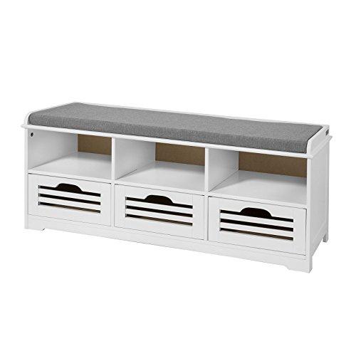 SoBuy® Scarpiera da Ingresso, panchina con Cuscino e cestini,L105cm, FSR36-W,IT