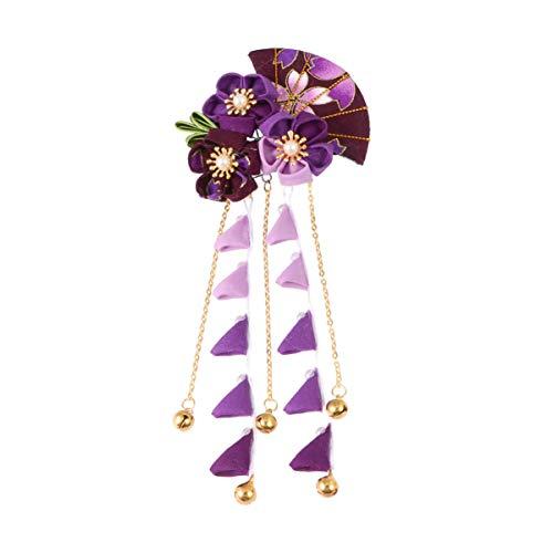 Beaupretty Japanische Haarspange Japanische Tsumami Haarnadel Kimono Blume Haargummi Band Clip Japanische Haarschmuck (Lila)