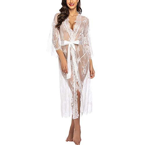 VisSec Chemise de nuit longue pour femme en dentelle florale sexy avec ceinture transparente, col en V - Tailles fortes, robe de mariée, Kimono avec string (S-L) - Blanc - L