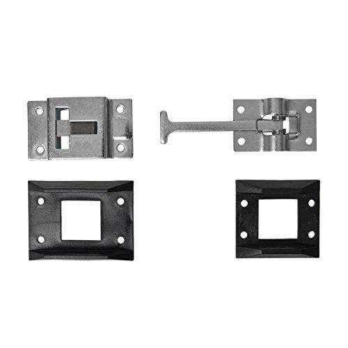 Unbekannt Türschließer 2 Stück verschrauben Türbeschläge oder vernietet Türscharnier Türschnapper Farbe schwarz silber Türfeststeller