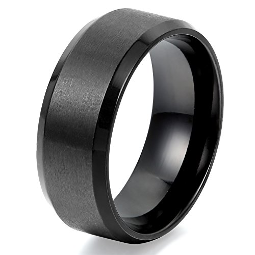 JewelryWe Stainless Steel Mens Rings 8mm Polished Beveled Matte Brushed Finish Ring, Black (14)