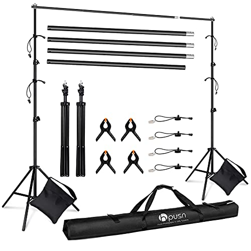HPUSN Adjustable Backdrop Stand Kit 10ft: Photo Video Studio for Wedding Party Stage Decoration, Background Support System Kit for Photography Studio with Clamp, Sand Bag, Carry Bag