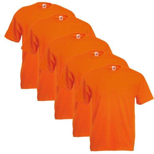 Fruit of the Loom 5er Pack T-Shirts, poppy orange, Größe XL