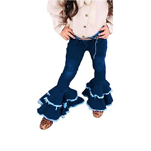 luethbiezx Little Girls Denim Jeans Bell-Bottom Toddler Kid Ruffle Flare Pants Leggings Trousers (Blue, 90(2-3T))